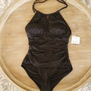 NWT Liz Claiborne Swimwear Black 1pc Swimsuit